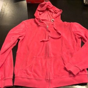 Pink Terry Hooded Zip Up Jacket